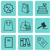 Set Of 9 Ecommerce Icons. Includes Rebate Sign , Handbag, Spiral Notebook Symbols. Beautiful Design Elements. poster