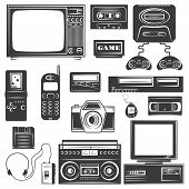 Set of gadget of 90s monochrome icons, design elements isolated on white background. Technology 90s poster