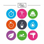 Spa, hairdressing icons. Swimming pool sign. Water drop, scissors and hairdryer symbols. Classic simple flat icons. Vector poster