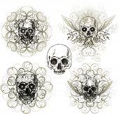 Grunge skull ornaments poster
