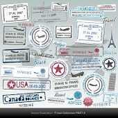 Vector passport stamps and travel icons poster