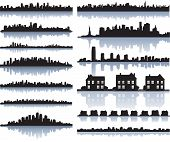set of vector detailed cities silhouette poster