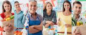 Smiling people at the store customers doing grocery shopping and supermarket clerks picture collage poster