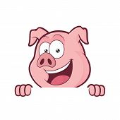 Clipart picture of a pig cartoon character holding and looking over a blank sign board poster