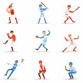 Professional League Baseball Players On The Field Playing Baseball, Sportsmen In Uniform Set Of Vector Illustrations. Sportive Professionals Catchers, Pitchers And Batters Cartoon Smiling Character. poster