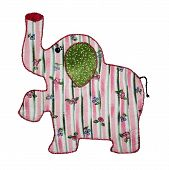 A cute country style pink quilted elephant against a white background. This wild zoo animal applique with a floral striped pattern body and green ears is embroidered around the edges. poster