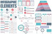 Infographic Elements - process infographics, workflow, diagrams, timeline infographics, steps and options, pyramid chart, flowchart design elements, vector eps10 illustration poster