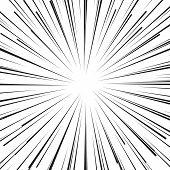 Abstract cartoon comic book flash explosion radial lines background. Vector illustration for superhero design. Bright black white light strip burst. Flash ray blast. poster