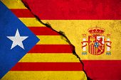 spain flag on broken brick wall and half catalan flag vote referendum for catalonia independence exit national crisis separatism risk concept poster