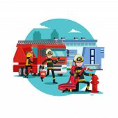 Colorful firefighting template with fireman rescue brigade fire truck and equipment vector illustration poster
