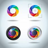 Colorful vector set of lens aperture. Diaphragm of a photo camera shutter spectrum icon set. Side exposed aperture blades. poster