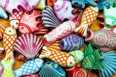 Colorful fish and shell beads sea life poster