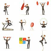Businessman Working Out In Gym, Metaphor Of Business Preparation Training Set Of Illustrations. Male Cartoon Character In Suit Doing Sportive Exercises To Get Ready For Work. poster