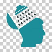 Propaganda Brain Shower vector pictograph. Illustration style is a flat iconic bicolor soft blue symbol on a transparent background. poster