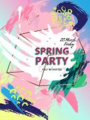 Design invitations in style 80s, 90s. Color background texture painted with a brush. Collage with geometric shapes and hand drawn spots. Memphis style. Bronze and copper. Vector. Poster spring party. poster