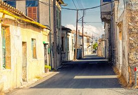 Old part of Larnaca city street with vintage buildings