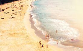 Panorama of Naithon sea public beach with people. Phuket Thailand