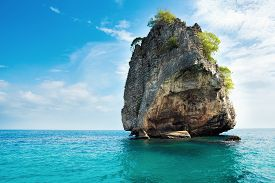 Landscape of lonely rock in the sea. Krabi Thailand
