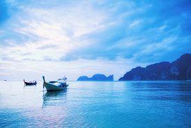Seascape of sunrise at Phi Phi islands Thailand
