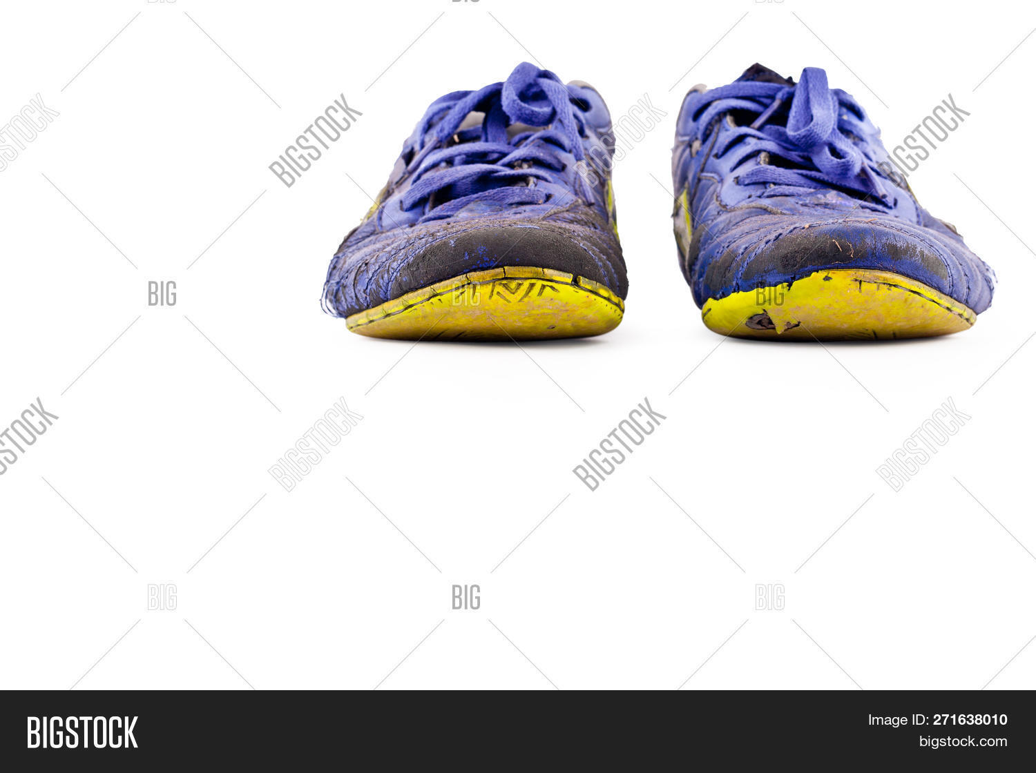 f48f3c95be7 Old Worn Out Dirty Blue Futsal Sports Shoes On White Background Football  Sportware Object Isolated