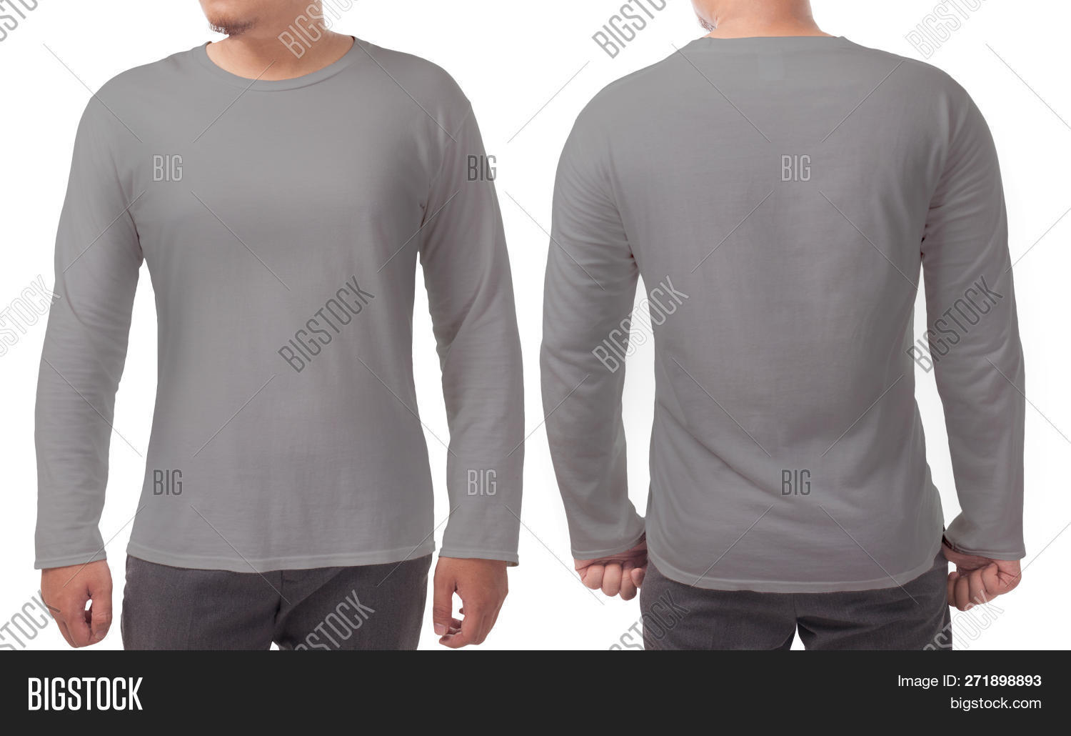 Gray Long Sleeved T Image Photo Free Trial Bigstock