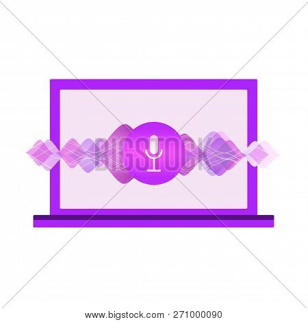 Computer Assistant For Voice Recognition Flat Illustration With Computer, Sound Symbol, Microphone B