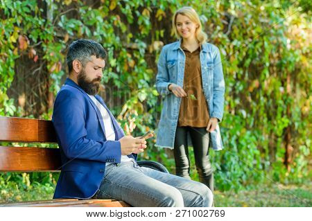 Man Bearded Hipster Wait Girlfriend. Park Best Place For Romantic Walk. Great Date Tips. Love Relati