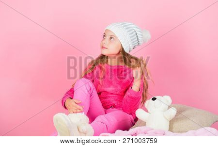 Child Small Girl Playful Hold Teddy Bear Plush Toy. Kid Cute Girl Play With Soft Toy Teddy Bear Pink