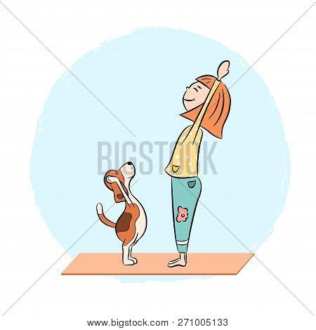 Cartoon Funny Dog Beagle With Girl Doing Yoga Pose. Surya Namaskara. San Salutation