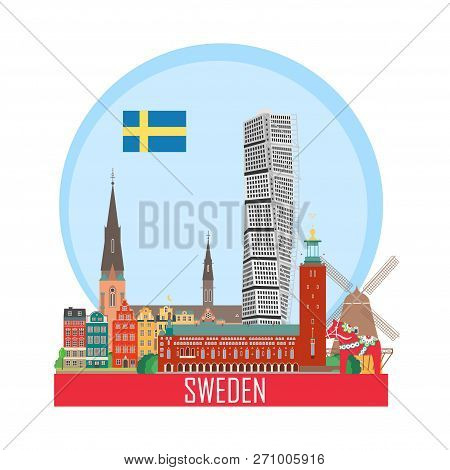 Sweden Background With National Attractions