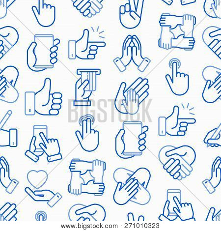 Hands Gestures Seamless Pattern With Thin Line Icons Set: Handshake, Easy Sign, Single Tap, 2 Finger