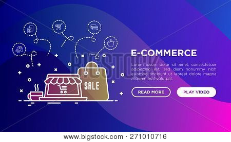 Online Shopping, E-commerce Concept With Thin Line Icons: Laptop, Payment, Piggy Bank, Sale, Currenc