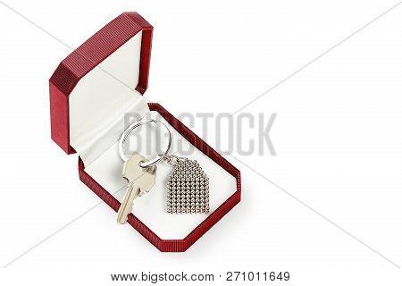 House Key On Giftbox Isolated On White