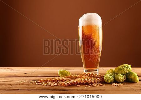 Close Up One Glass Of Beer With Froth And Bubbles, Green Hops And Barley Grain And Spikes On Wooden