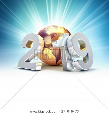 2019 New Year Silver Date Number Composed With A Gold Planet Earth, Focused On America, Shining Star