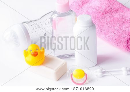 Baby Organic Cosmetic For Bath On White Bakground