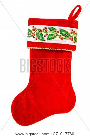Christmas Stocking. Red Sock For Gifts Isolated On White Background