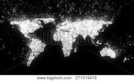 3d Illustration Of World Map Built From White Circuitry And Binary Data