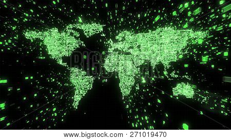 3d Illustration Of World Map Built From Green Circuitry And Binary Data In Green