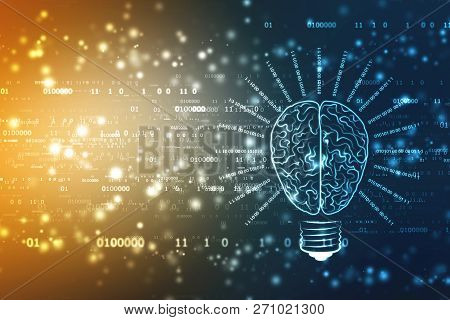 Bulb Future Technology With Brain, Innovation Background, Creative Idea Concept, Artificial Intellig