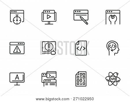 Backend Developing Line Icon Set. Set Of Line Icons On White Background. Technology Concept.  Progra