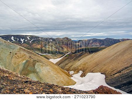 Panoramic landscape of Landmannalaugar geothermal area with colourful rhyolite mountains and black lava fields, summer view of Fjallabak Nature Reserve, Iceland poster
