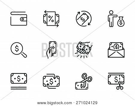 People With Money Line Icon Set. Set Of Line Icons On White Background. Money Concept. Finance, Bank