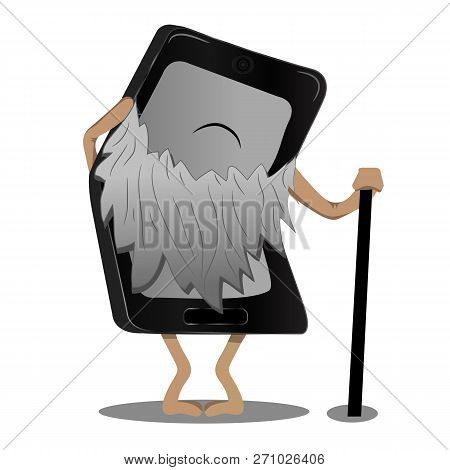 Aan Old Phone With A Beard Rests On A Cane. Outdated Model. Rarity.n Old Phone With A Beard Rests On