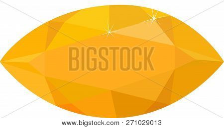 Bright Yellow Topaz Isolated On White Background. Vector Illustration.
