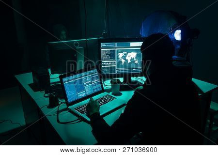 Hackers making cryptocurrency fraud using virus software and computer interface. Blockchain cyberattack, ddos and malware concept. Underground background. poster