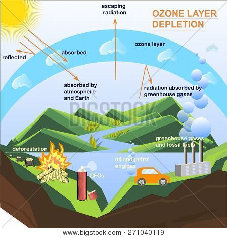 Scheme of the Ozone Cycle Depletion, flats design stock vector illustration for education, for web, for print poster