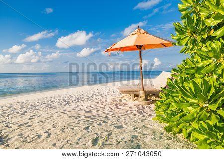 Idyllic Beach Scene With Two Beach Chairs And Umbrella On White Sand. Perfect Beach Panorama, Blue S