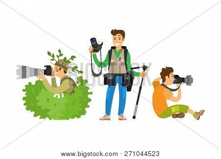 Set Of Photo Journalists Making Broadcast Reportage Isolated. Paparazzi Hiding In Bush, Photographer