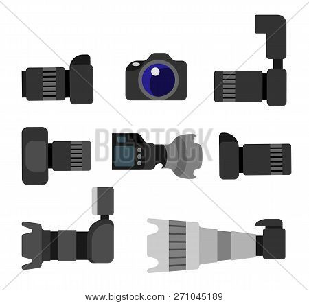 Set Of High Resolution Action Cameras With Removable Lens Vector Illustration Front And Side View Ph